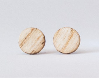 Wood earrings, Ash studs,  Wooden stud earrings, Boho studs, rustic earrings, Flat studs, Round wood studs, boho stud earrings, unisex