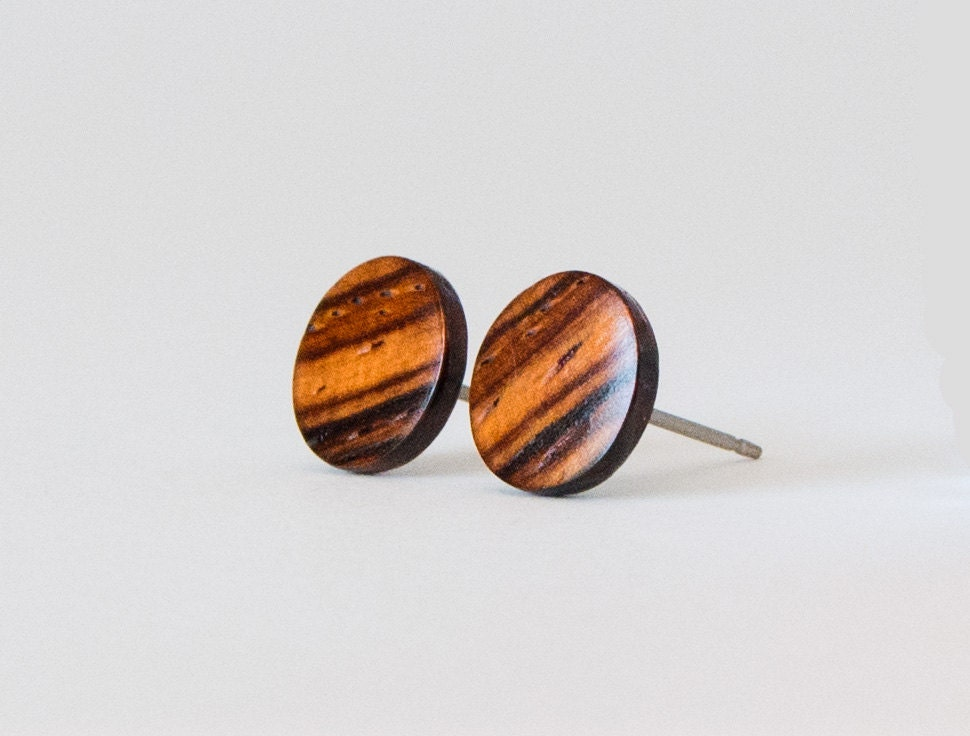 Cocobolo wood studs wooden earrings unisex stud earrings for How to carve a wooden ring