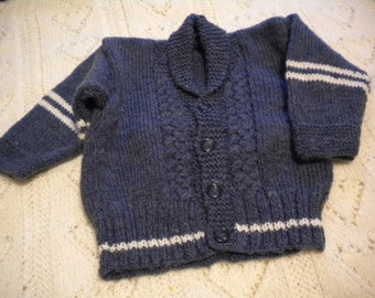 Hand Knit Boy/Child's Varsity Sweater With Cables - Size 18 Months - 2 Years - Merino Wool Blend