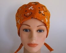 University of Tennessee Bandanna fabric tie back scrub hat - Womens surgical scrub cap, chemo hat, Bakers hat, 106-100 W