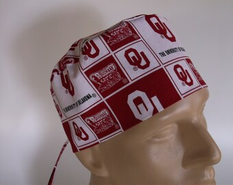 Oklahoma Sooners fabric Men's scrub hat with sweatband option - surgical scrub cap, Bakers hat, 74+100