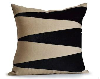 Black beaded Pillows Black Silk Pillows Black Metallic