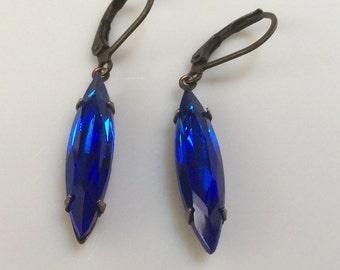 Vintage Look Earrings  Sapphire Blue Glass Earrings  Boho Earrings  Cobalt Blue Earrings  Leverback Earrings  Gypsy Dangles