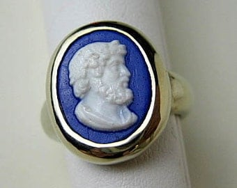 Antique Portrait of Aristotle Cameo Glass Reset as Signet Ring 14K Gold (White), Hand cast ca.1900.