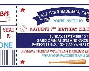 Baseball Ticket Birthday Invite