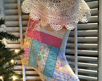 Quilted Christmas Stocking from Vintage Cutter Quilt