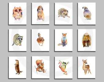 Nursery Print Set, Woodland Prints, Animal art, Watercolor Painting, Kids Art, Childrens  Art Prints