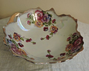 Trimont Bowl Vintage Trimont Ware Iridescent Porcelain Scalloped Edge Pansy Gold Trimmed Bowl