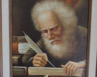 Vintage painting of man writing signed by the artist Ballard