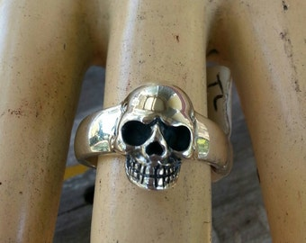 sterling silver signet skull ring alternative steampunk gothic punk pirate