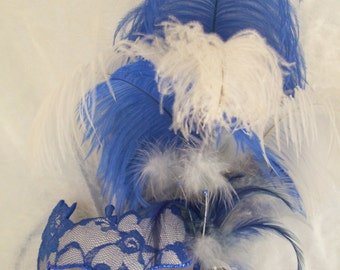 Blue and White Lace Masquerade Mask