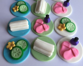 Fondant Spa Cupcake Toppers
