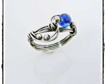 Sterling Silver Twist Ring with Blueberry Quartz