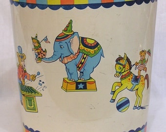 Vintage Tin Waste Can Trash Can for Child's Room Circus Animal Imagery Around Sides