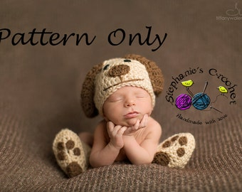 Crochet PATTERN - Newborn Doggy set Photo Prop -Instant Download PDF- Photography Prop Pattern