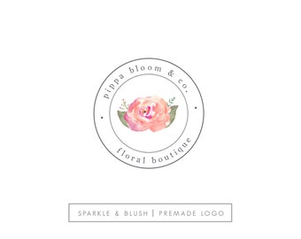 Premade Photography Logo - Etsy Shop Branding - Hand Painted Watercolor Flowers Floral Watercolor Coral & Pink - Circle Logo Design (e939)