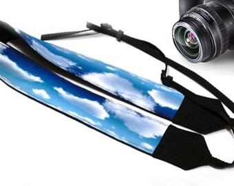 Skies Camera Strap.  Dslr Camera Strap. White Blue Camera Strap