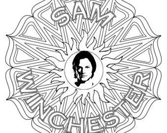 Sam Winchester Supernatural Mandala - Grown-up Colouring!