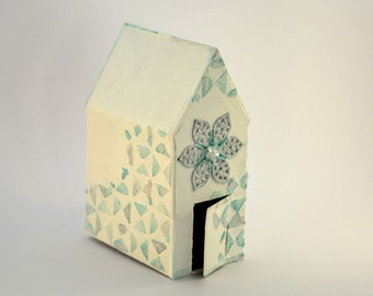 Decorative house, mixed media, white and blue, metal decor