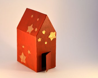 Decorative house, mixed media, red, gold stars