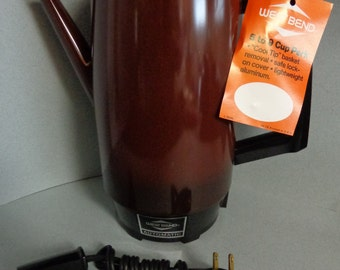 NOS Vintage West Bend Brown Automatic Electric Percolator Coffee Pot 5 - 9 Cups with Cord