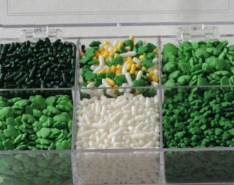 St Patricks Day Sprinkle Kit- Kit includes white and green jimmies, green shamrock confetti, green shamrock quins.