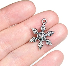 6 Antique Silver Snowflake Charms - Double Sided