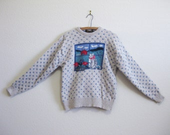 Kitty Cat Sweater Wool Blend Sweater Large - SO warm and cuddly!
