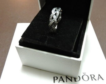 Pandora Sterling Silver Twist  OF Fate . Clear CZ Ring