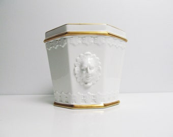 Vintage white ceramic plant holder, vase, planter, octagon shaped, VA Portugal, gold rim, face en relief on each side, Height 6 in / 15 cm