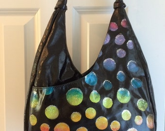 Hand painted Purse - On The Dot