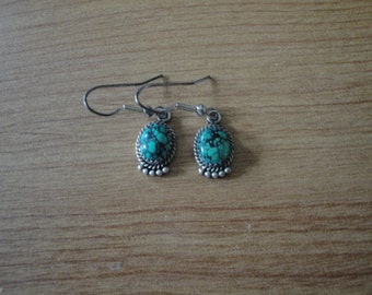 Vintage Native American Spiderweb Turquoise Dangle Drop Earrings Sterling Silver Jewelry
