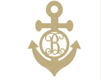 Nautical Anchor Door Monogram - Unfinished and Available Many Different Sizes