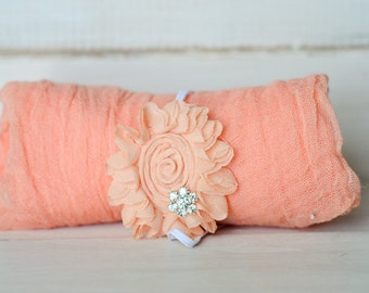 Peach Cheesecloth Wrap and Headband Set, Photography Prop