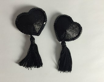 Black Glitter Heart Nipple Tassels
