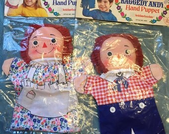 Knickerbocker raggedy ann and andy hand puppets
