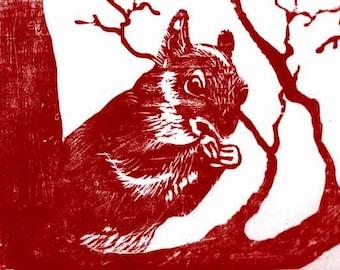 Red Squirrel Woodblock Print, Handpulled relief printmaking
