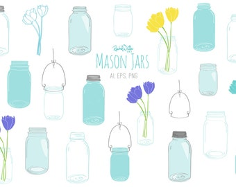 Mason Jars Vector Illustrations - 48 Images in Color, White, Black - AI, EPS, PNG - Instant Download