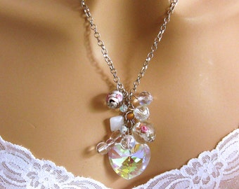 Long Heart Necklace, Heart Lampwork and Crystal Pendant Necklace, Kitsch Jewelry, Heart Jewelry, AB Crystal Heart Pendant, Jewelry Gift