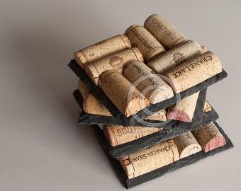 Slate Wine Cork Coasters , Wine Cork Coasters Set of 4, Wine Cork Crafts, Wedding Favor, Slate Coaster