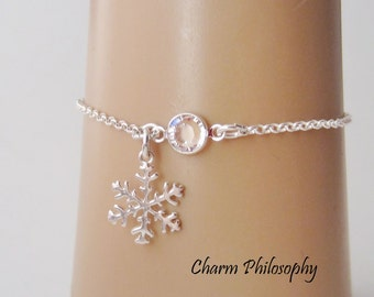 Snowflake Birthstone Bracelet or Anklet - Personalized Birthstone Bracelet - 925 Sterling Silver - Rolo Chain - Dainty Minimalist Bracelet