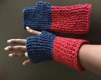 Hand Crocheted Finger-less Gloves/ University of Arizona crochet gloves/ Winter sports glove