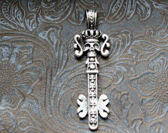 14-6-AS  Long Skull Pendant Looks Like A Skull Key Attached Bail 67x20mm Antique Silver Finish 2 pieces