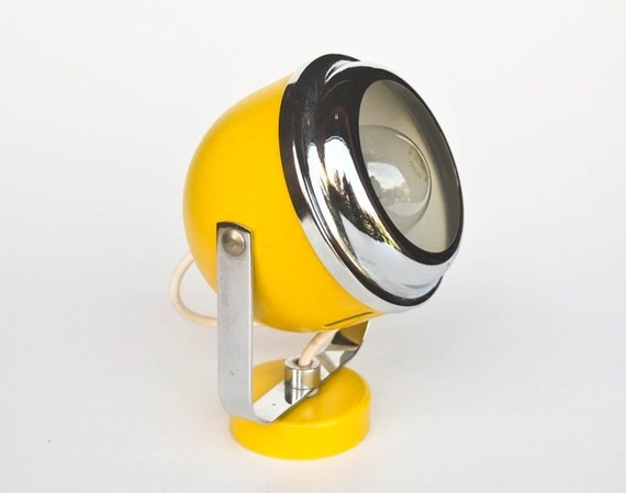 Yellow Wall Sconces : Atomic Yellow Wall Lamp / Sconce / Spt Light / 70's