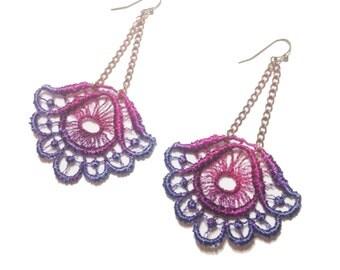 LORELEI- Lace Earrings- Dahlia