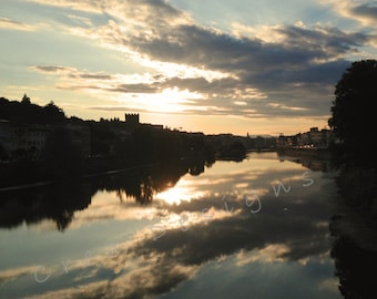 Florence Italy Photography - Travel Photography - Mirror Clouds - Arno River - Ponte Vecchio - Tuscany - Sunset - Wall art - Home Decor
