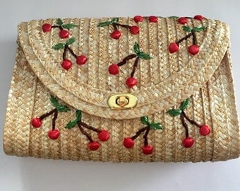 Cute Straw clutch with cherries raffia purse vintage 50s look