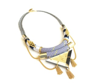KAORI - statement geometric rope necklace, triangle necklace, bib necklace, gunmetal necklace, statement jewelry, ethnic necklace, tribal