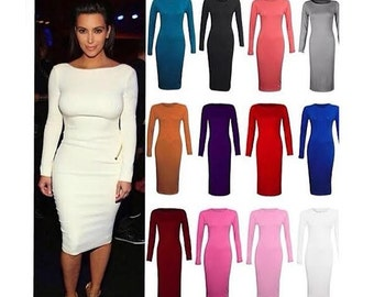 Midi Dress Solid Color Dress All Purpose Plus Sizes Available Great Stretch Perfect Occasion Long Sleeves Birthday Girl Dress All