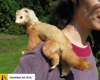 ferret siam posable art doll brown faux fur pet domestic marten ooak soft sculpture jerseydays